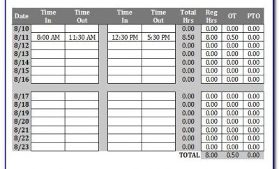 Timesheet Template With Overtime