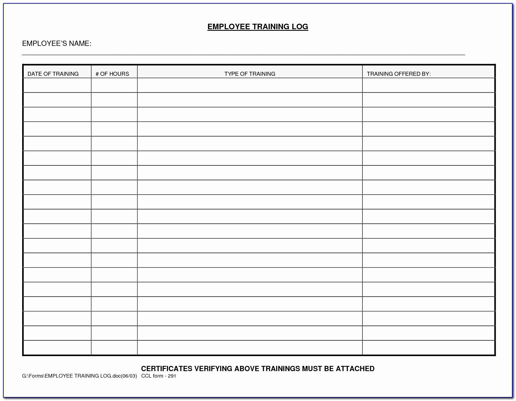Training Log Book Format Of Hotel Management