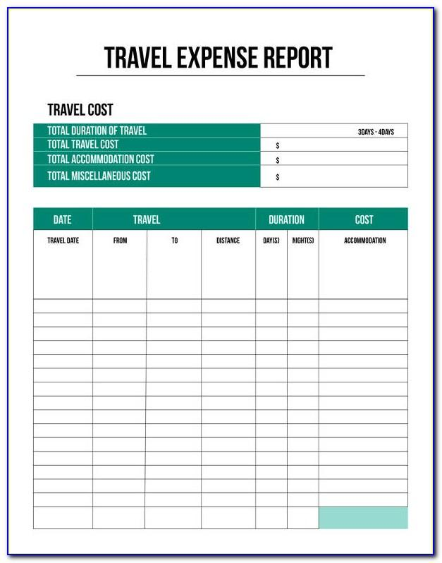 Travel Expense Report Template Free