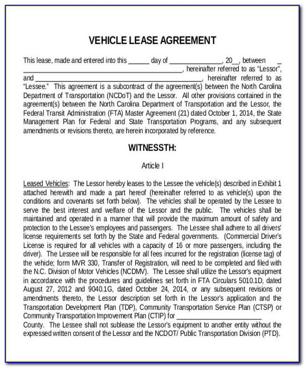 Vehicle Lease Agreement Form Free