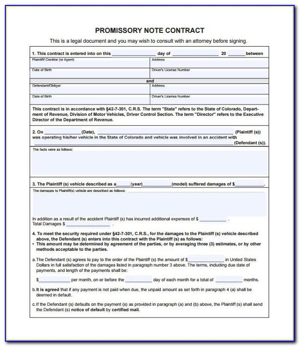 Vehicle Promissory Note Template