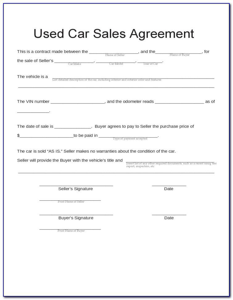 Vehicle Sale Agreement Template Pdf