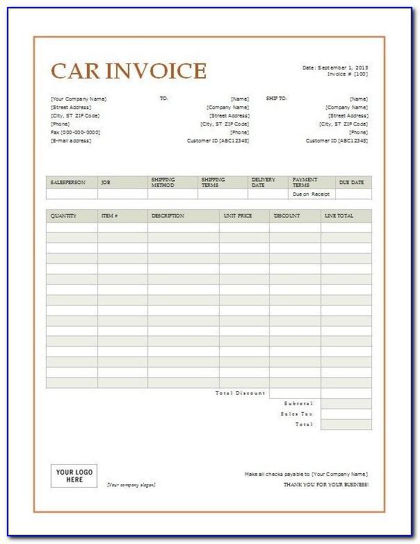 Vehicle Sale Receipt Template Uk