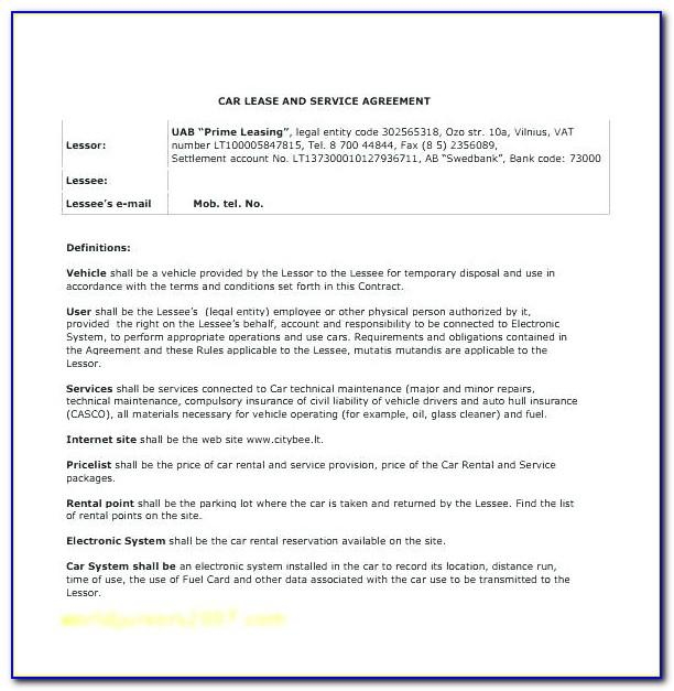 Vehicle Sublease Agreement Template Free