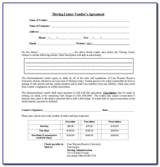 Vendor Agreement Template Pdf