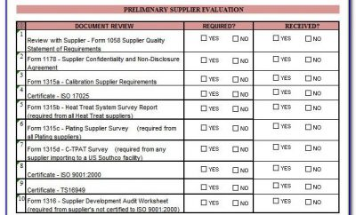 Vendor Assessment Form Xls