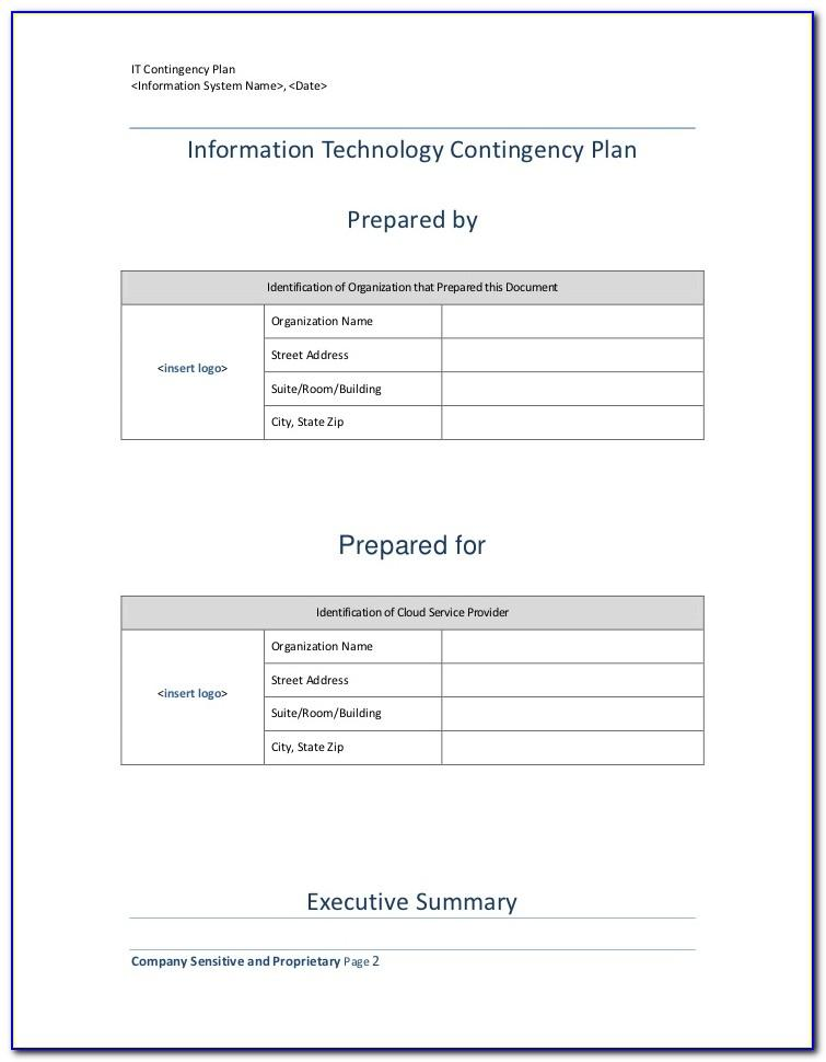 Vendor Contingency Plan Template