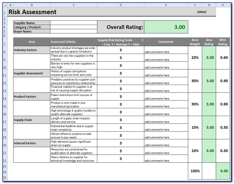 Vendor Risk Assessment Template Xls