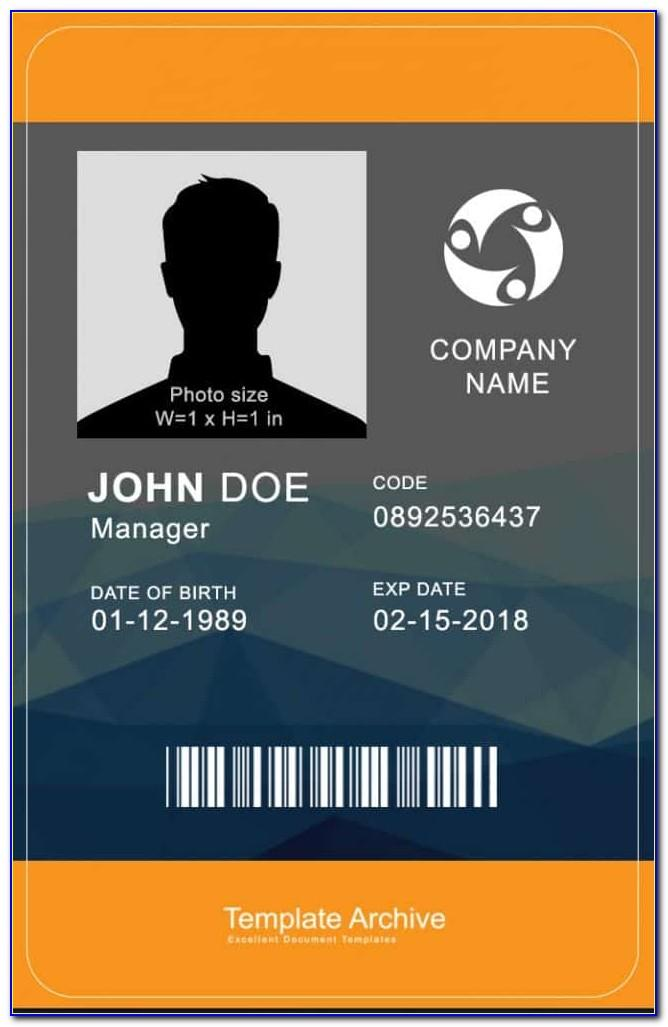 Vertical Employee Id Card Template Psd