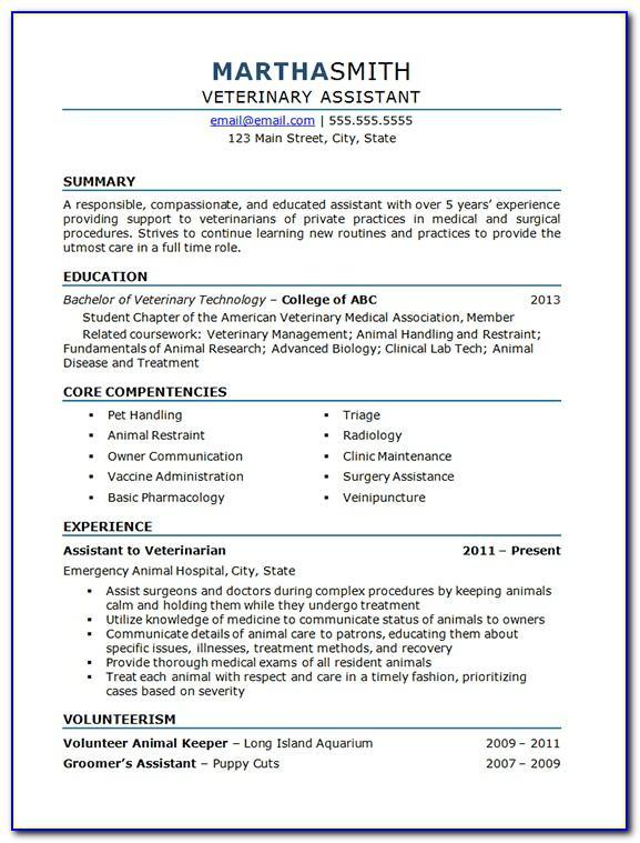 Vet Assistant Resume Samples