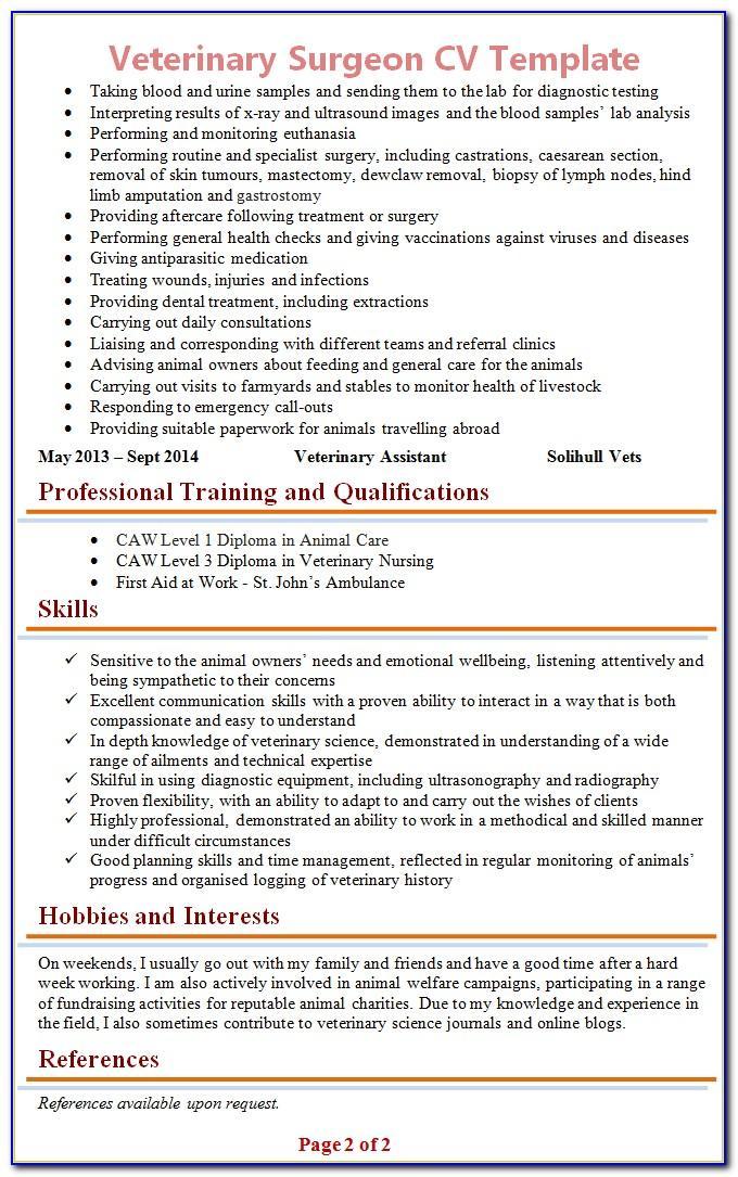 Vet Tech Resume Format
