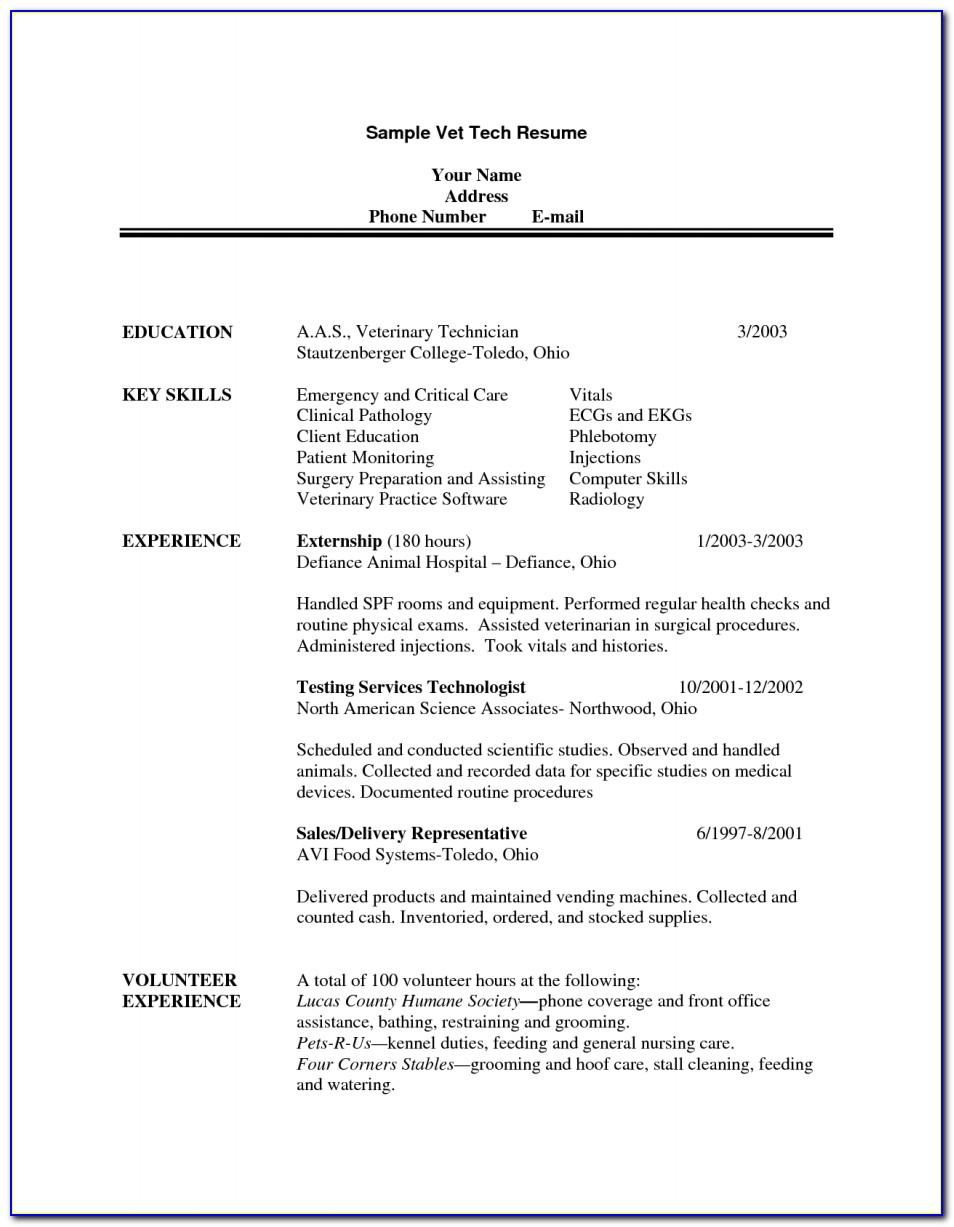 Veterinary Assistant Resume Example