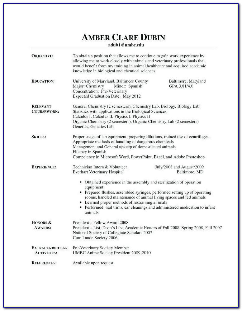 Veterinary Assistant Resume Examples No Experience