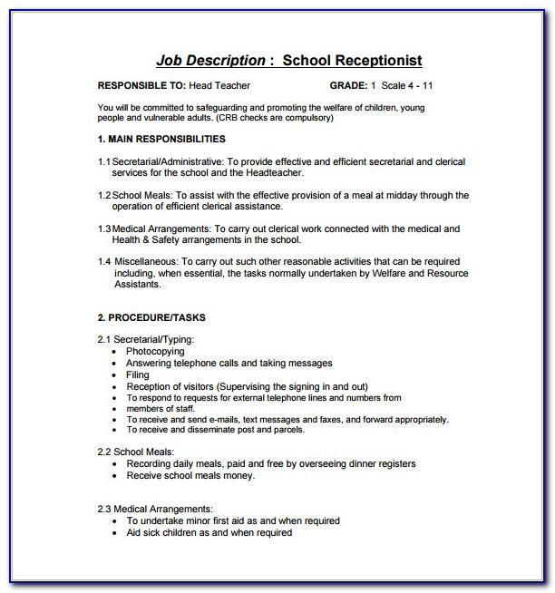 Veterinary Receptionist Job Description Resume