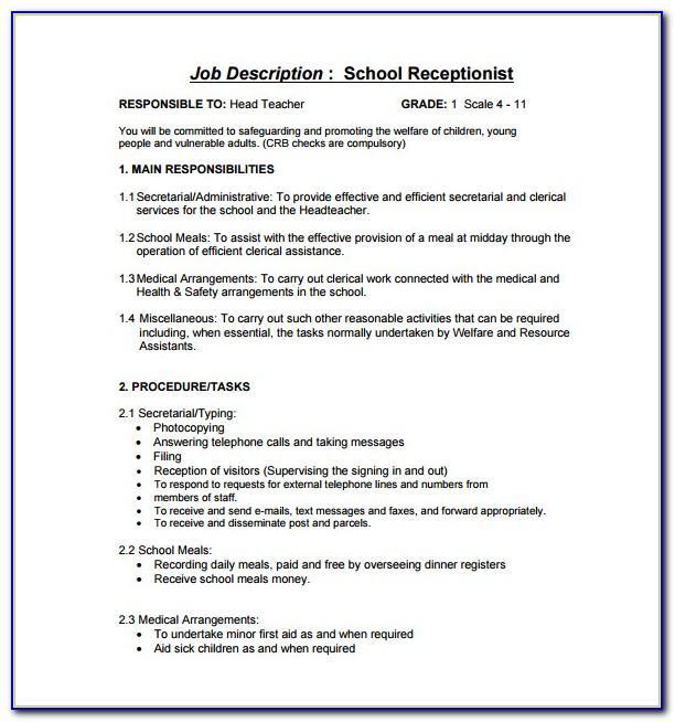 Veterinary Receptionist Job Description Resume