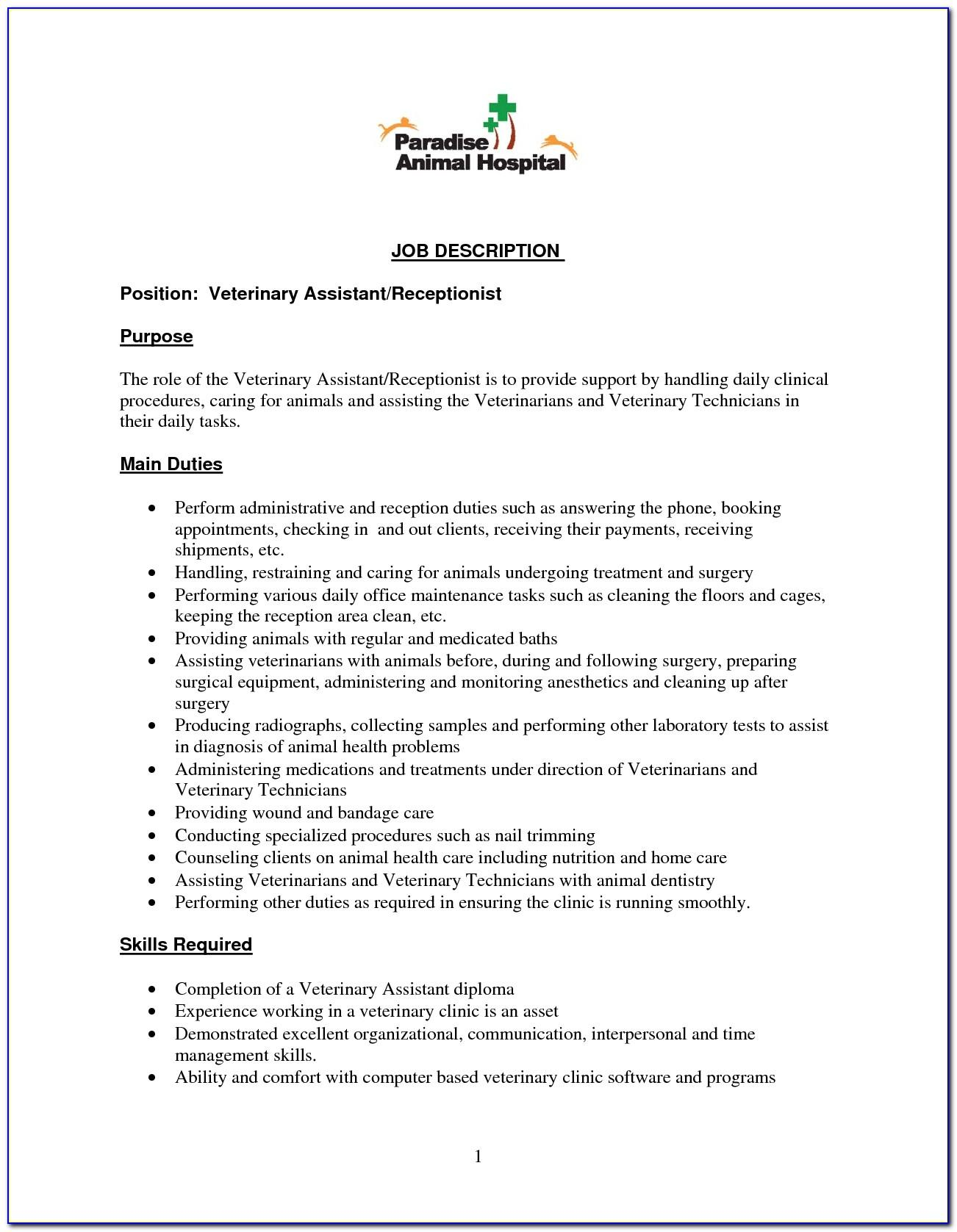 Veterinary Receptionist Job Description Template