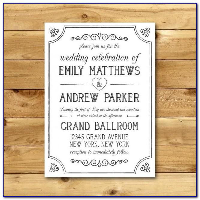 Vintage Wedding Invitation Card Template Free Download