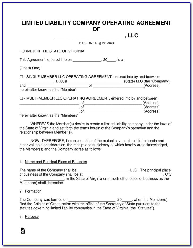 Virginia Llc Operating Agreement Form