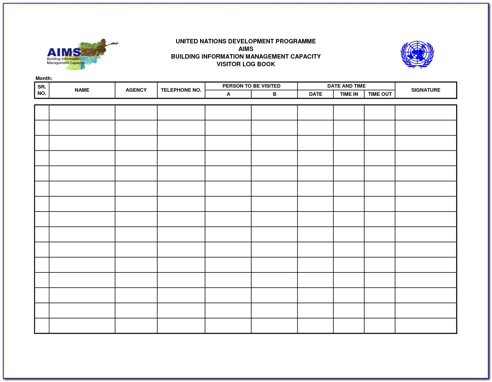 Visitor Log Book Template Download