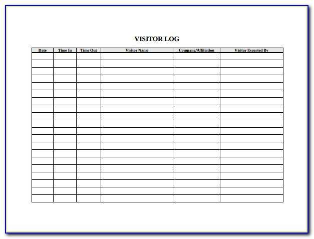 Visitor Register Book Template