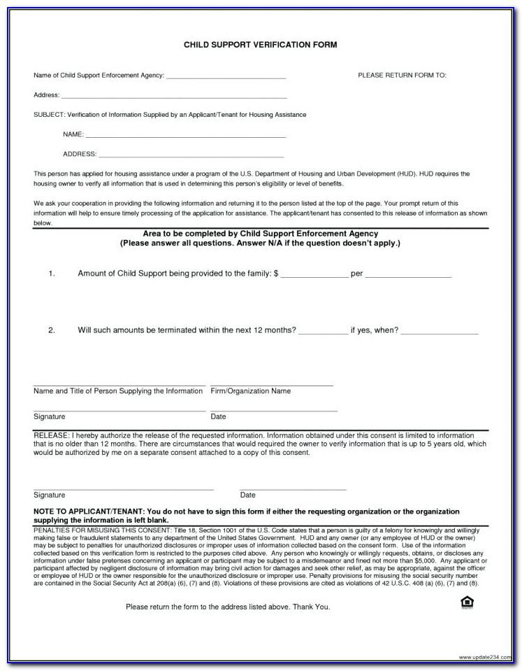 Voluntary Child Support Agreement Form Florida