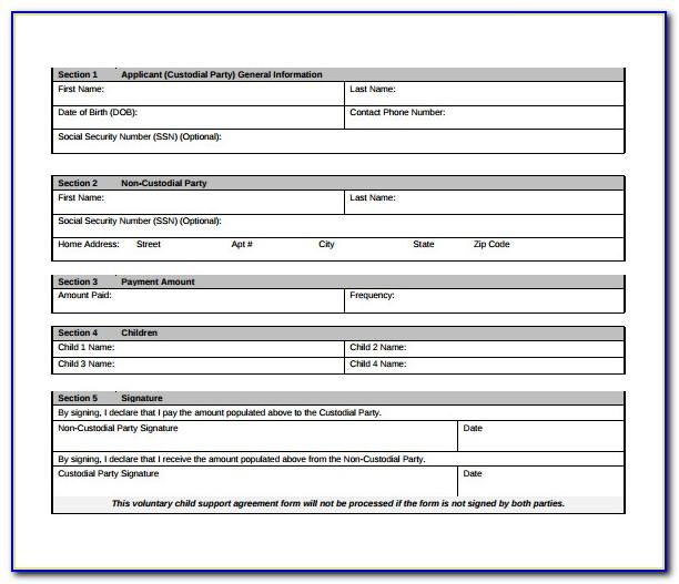 Voluntary Child Support Agreement Form Georgia