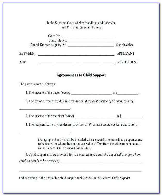 Voluntary Child Support Agreement Form Pennsylvania