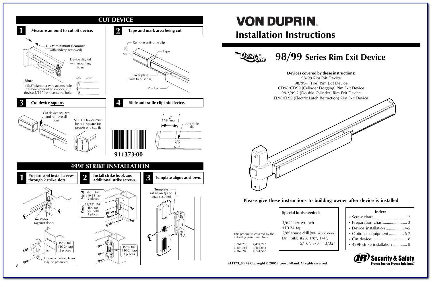 Von Duprin 99 Exit Device Template