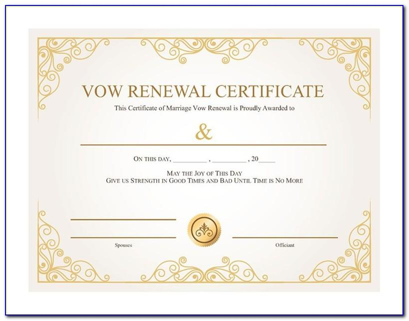 Vow Renewal Certificate Templates Free