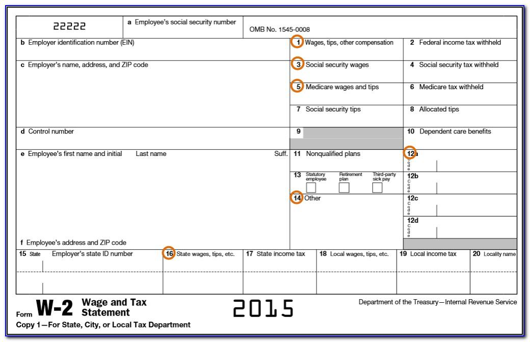 W2 Form Template 2016 Printable