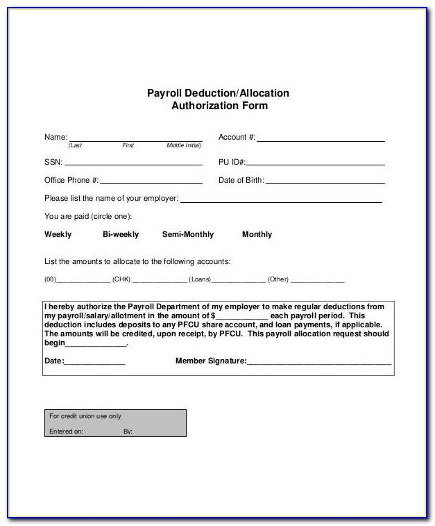 Wage Deduction Authorization Agreement Template