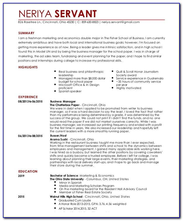 Waiter Cv Sample Download