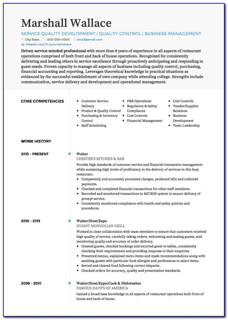 Waiter Cv Template Doc