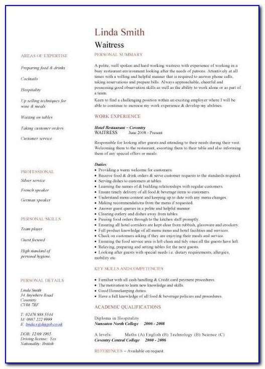 Waiter Resume Sample No Experience