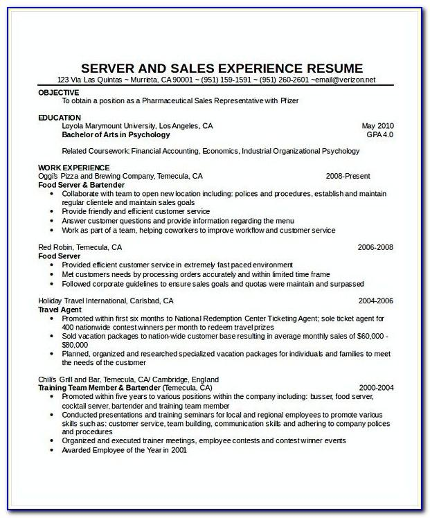 Waiter Resume Sample Pdf
