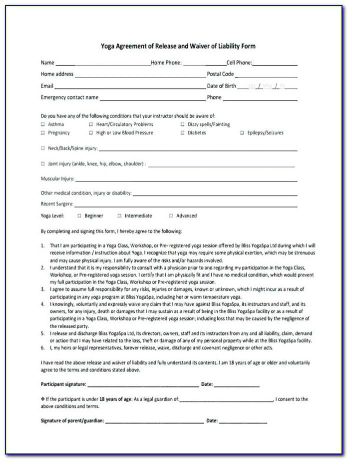 Waiver Form Template Canada
