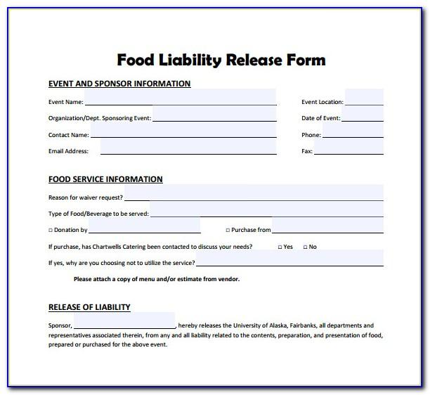 Waiver Form Template For Food