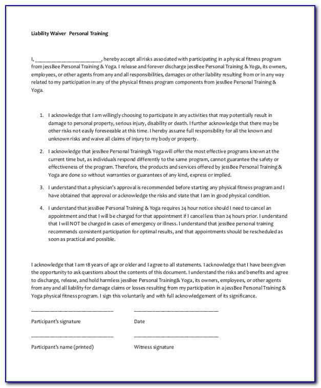Waiver Form Template Uk