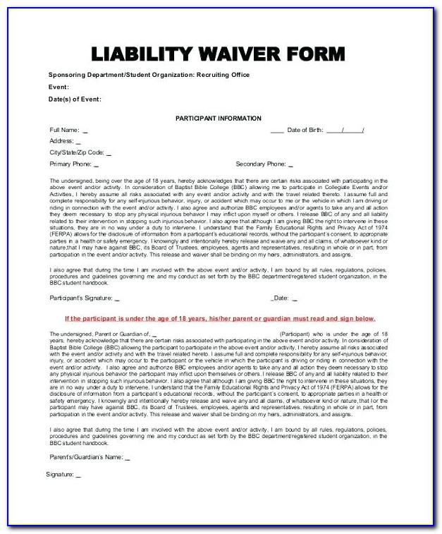 Waiver Of Liability Contractor Template