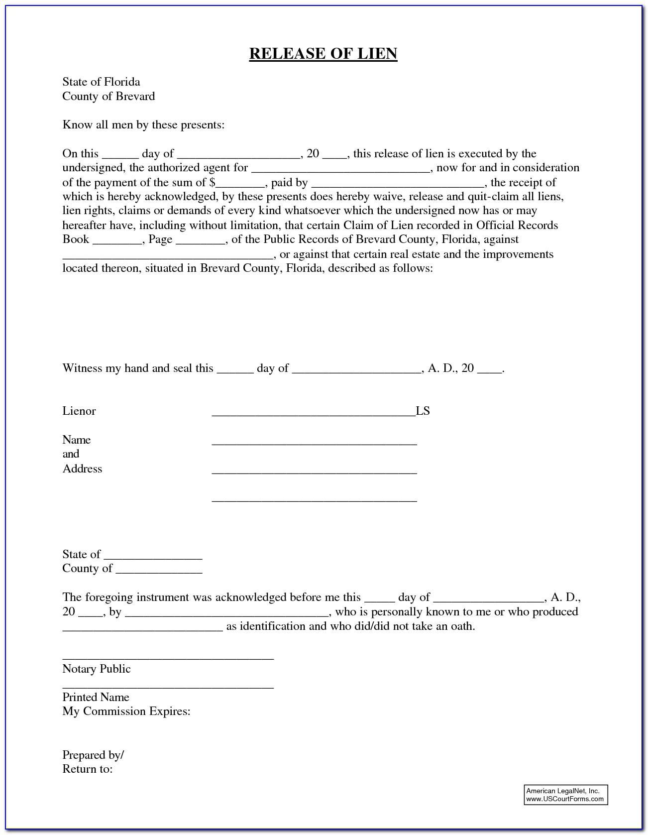 Waiver Of Lien Form Florida