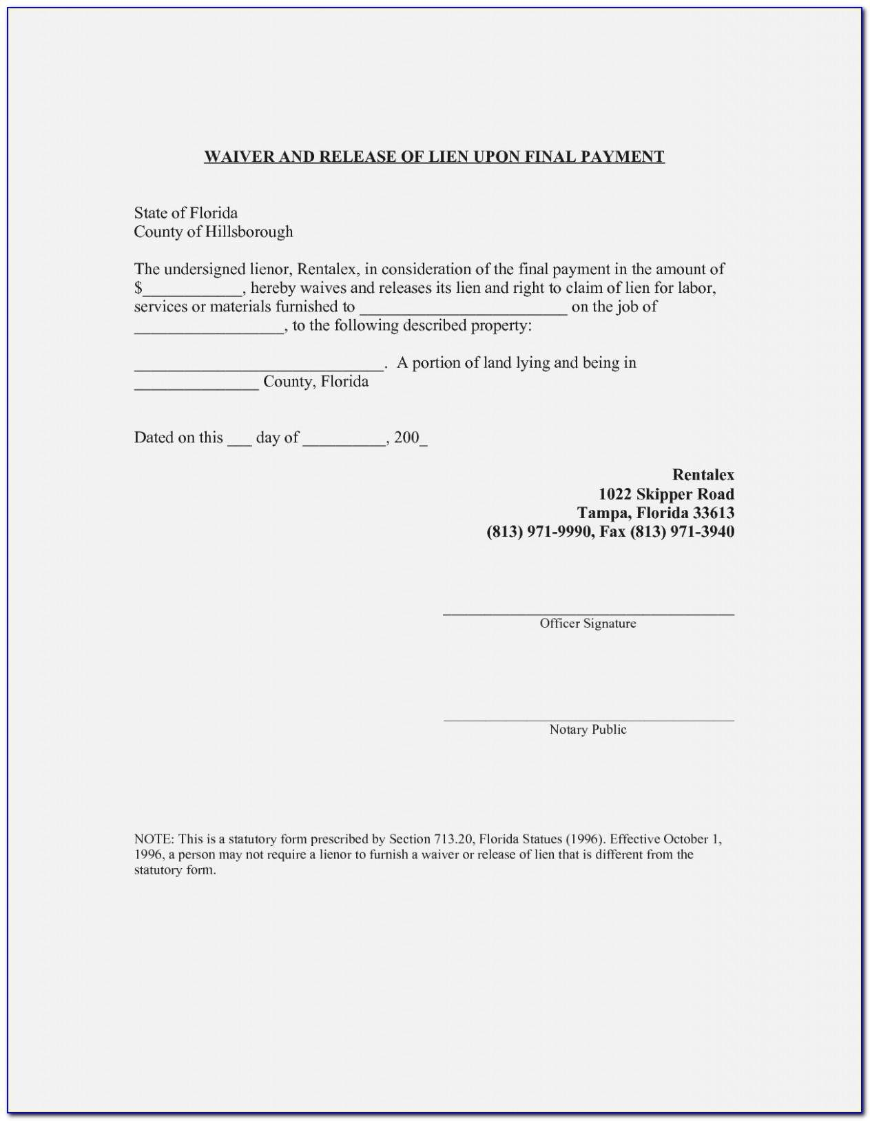 Waiver Of Lien Form Il