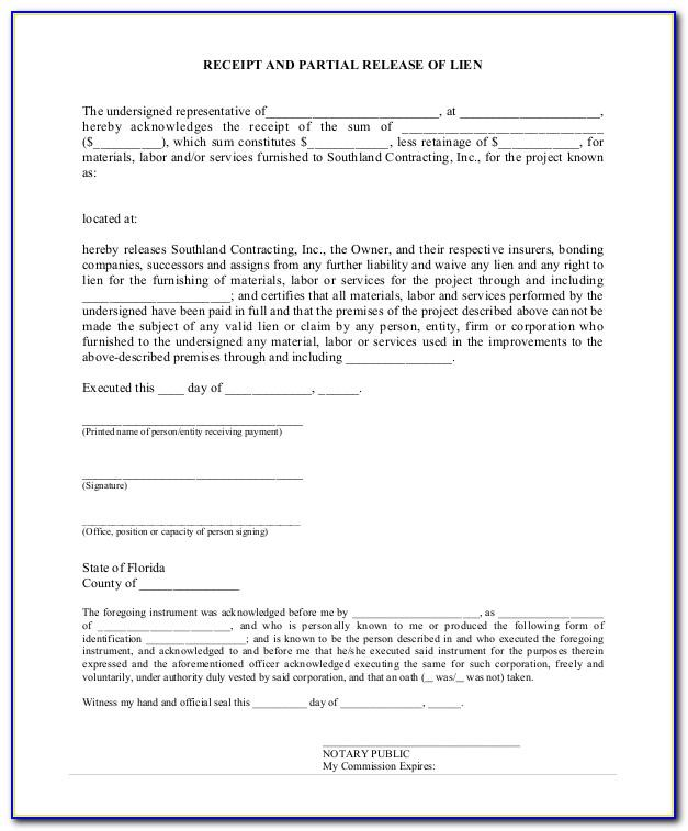 Waiver Of Lien Form Ny