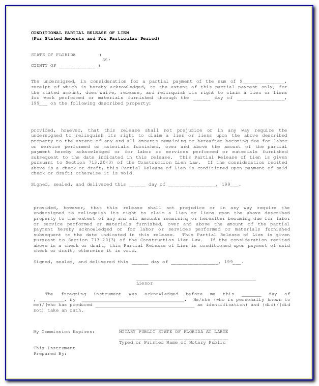 Waiver Of Lien Form Pdf