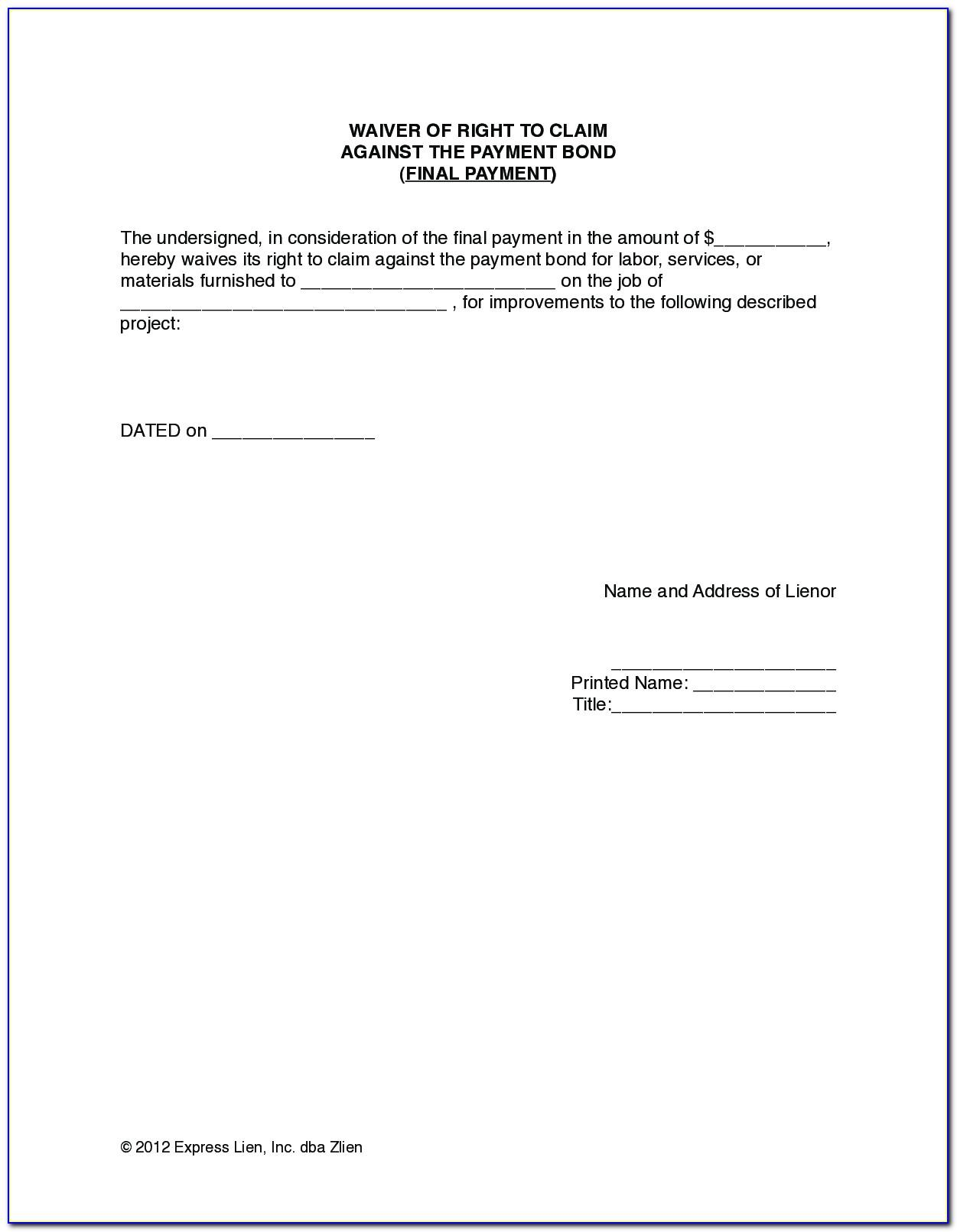 Waiver Of Lien Form Texas