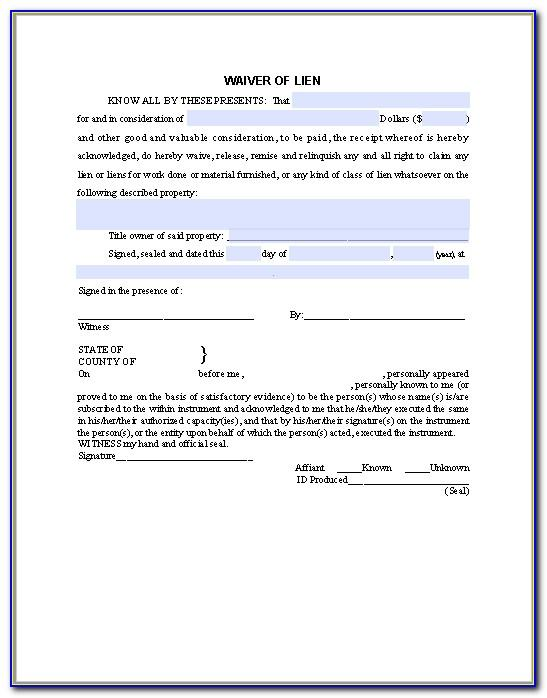 Waiver Of Lien Template