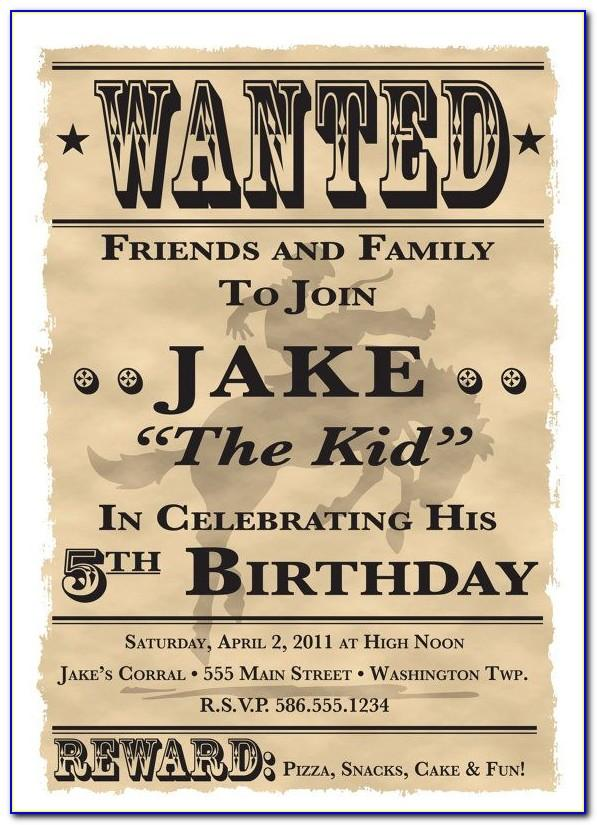 Wanted Cowboy Invitation Template