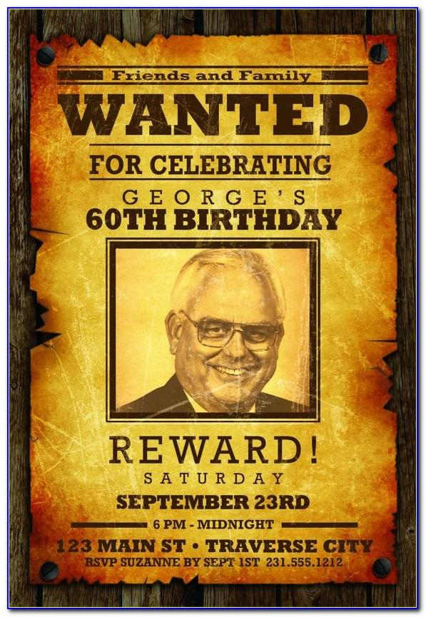 Wanted Poster Invitation Template Free