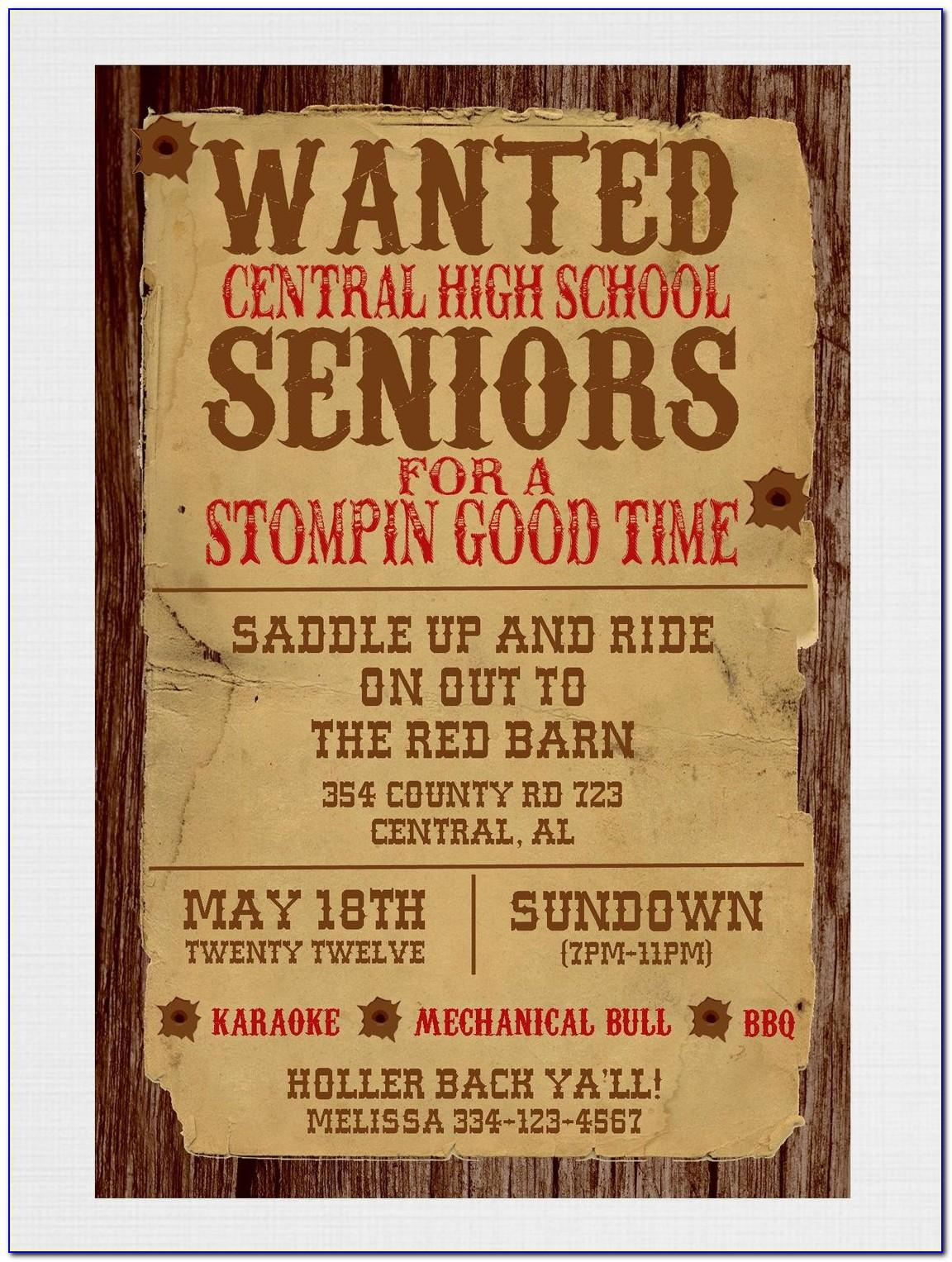 Wanted Poster Party Invite Template