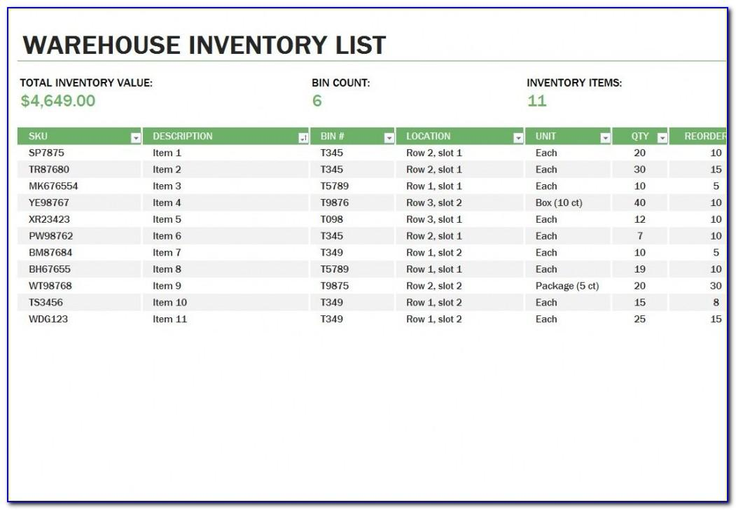 Warehouse Inventory Form Template