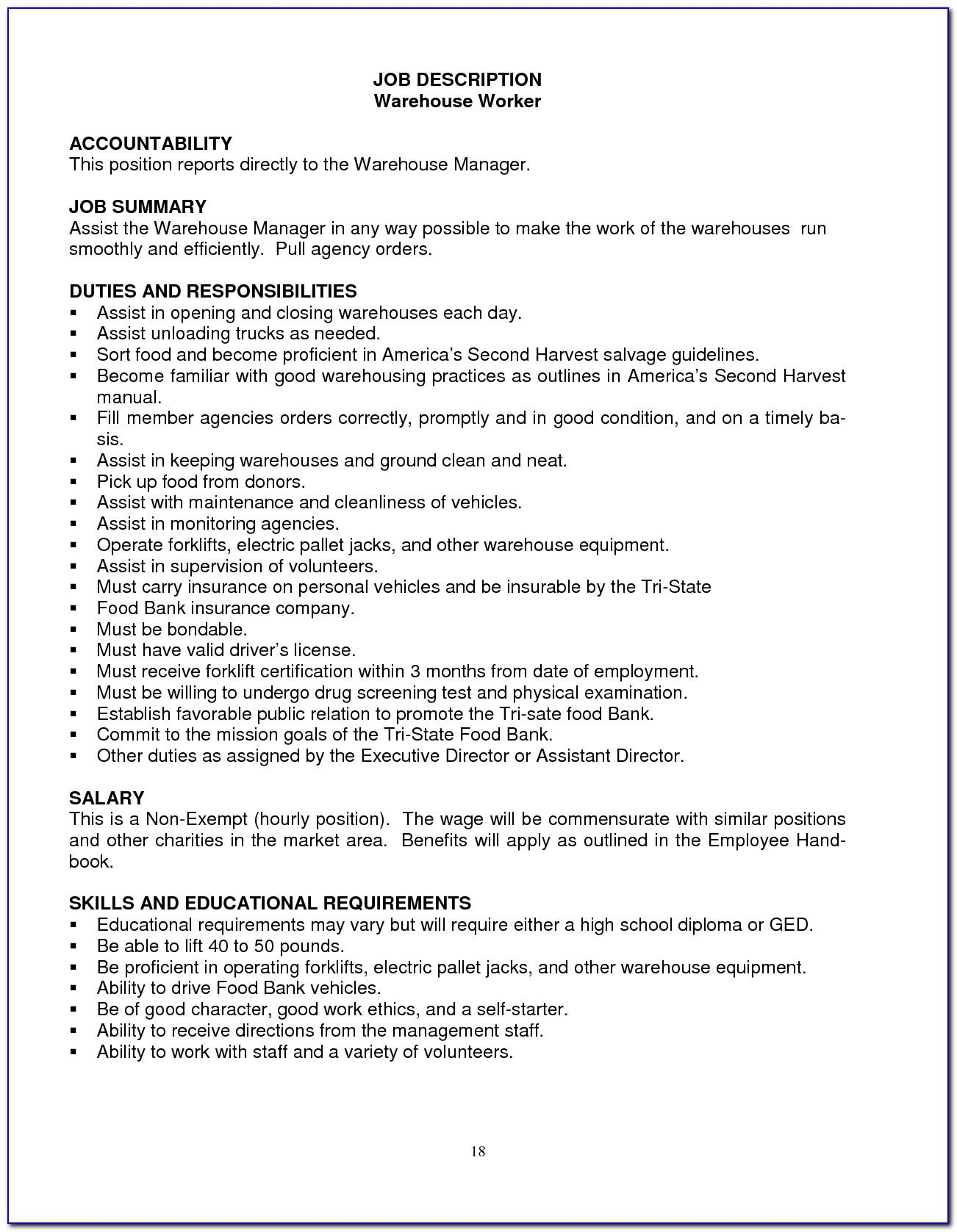 Warehouse Manager Job Description Cv